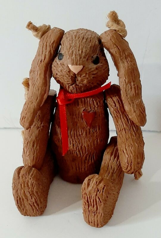 Vintage Bunny Four Inch Figure Red Heart On Chest Tied Limbs
