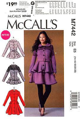 McCall's Sewing Pattern M7442 Women's 14-22 peplum Coat Jacket Belt 7442