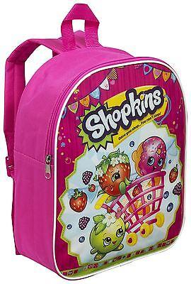 Shopkins Girls Backpack Kids Nursery Bag Rucksack School Shoulder Bags - Pink