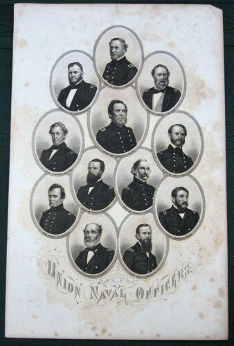 Civil War Union  Naval Officers - antique 1864 J.C. Buttre engraving