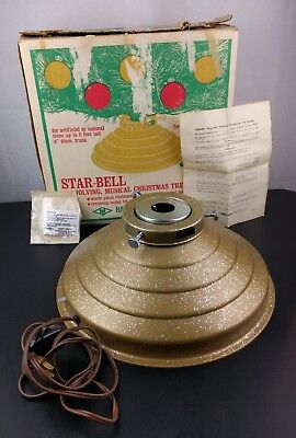 VTG Handy Things Star Bell Musical Rotate Christmas Tree Stand Holder Gold Ohio