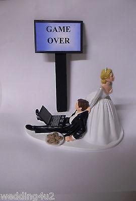 Wedding Reception ~Computer Laptop~ Geek Nerd Groom Cake Topper Game Over Sign - Wedding Reception Games