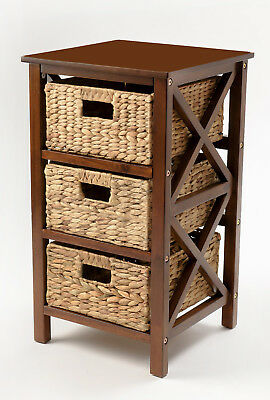 3 Tier X-side End Table/Cabinet Storage with 3 Baskets  in Walnut