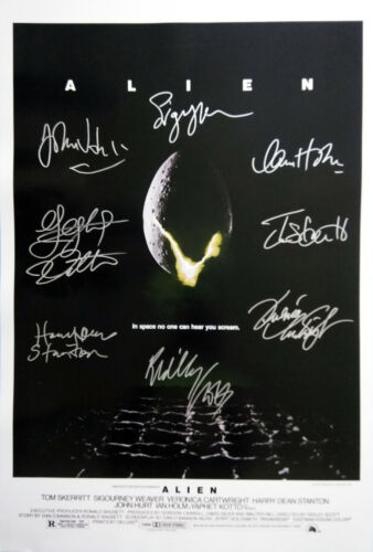 ALIEN MOVIE Poster Signed by 8 cast members, Excellent condition replica