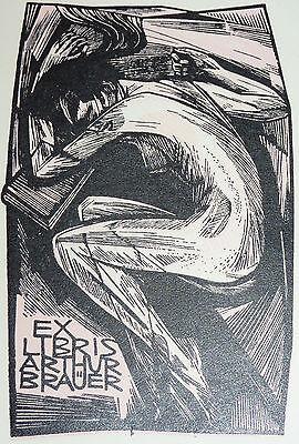 Ex Libris Weiblicher Akt Expressionismus Arthur Brauer Exlibris