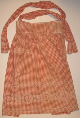 Vintage Homespun Apron with Embroidery