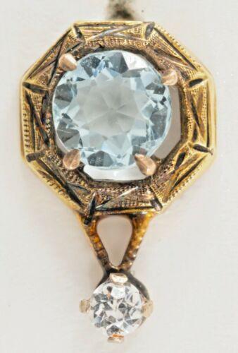 Antique Art Nouveau 14K Stick Pin w Aqua & Diamond