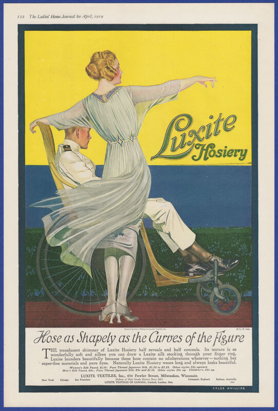 Vintage 1919 LUXITE HOSIERY Silk Stockings Lingerie Coles Phillips Art Print Ad