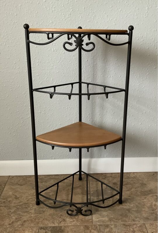 """Longaberger Wrought Iron Corner Stand With 2 Woodcraft Shelves 29"""" Tall"""