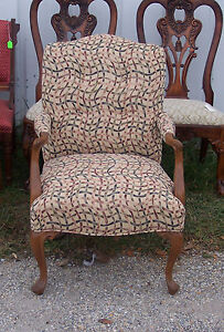 Walnut-French-Armchair-Parlor-Chair-abstract-print-AC101