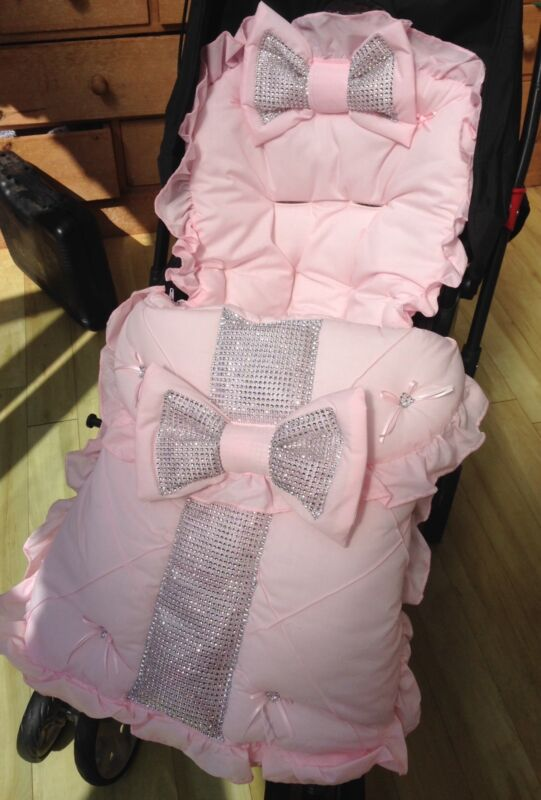 PRAM PUSHCHAIR PINK BOW BLING COSYTOES FOOTMUFF - ROMANY