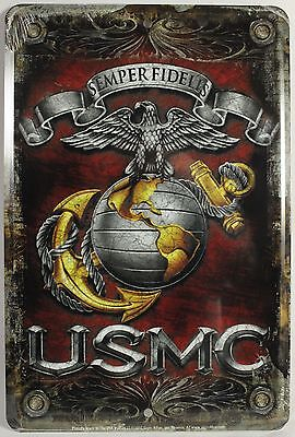 USMC METAL SIGN Aluminum US Marines Parking Plaque NEW Armed Forces Emblem Seal