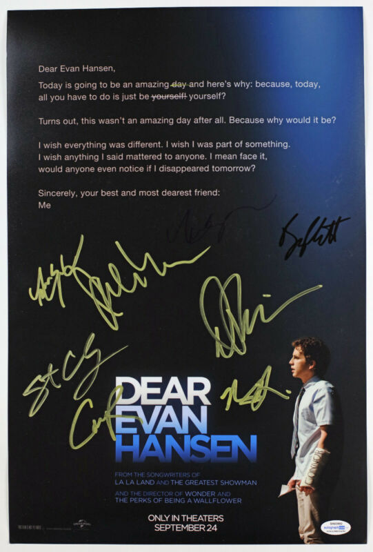 Ben Platt + 7 Cast Signed 'Dear Evan Hansen' 12x18 Photo EXACT Proof ACOA
