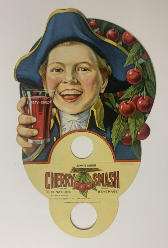 Vintage Original NOS CHERRY SMASH Bevarage Cardboard Bottle Topper Sign