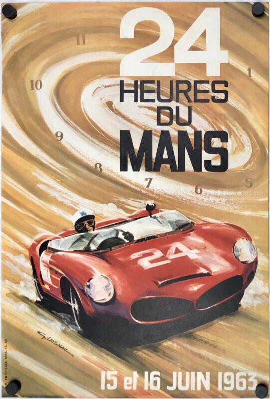 Original Vintage Poster 24 HUERES DU MANS 1963 Le Mans Automobile Racing LEYGNAC