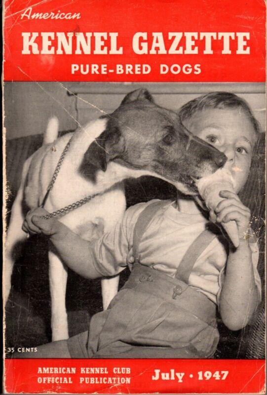 Vintage American Kennel Gazette July 1947 Fox Terrier Cover