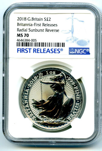 2018 GREAT BRITAIN 1OZ SILVER NGC MS70 BRITANNIA BLUE LABEL FIRST RELEASE JUST 5