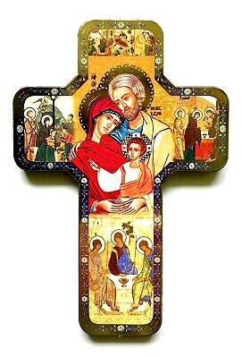 "HOLY FAMILY ICON - Beautiful 7"" Wood Cross"