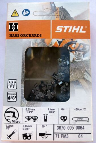 "Stihl Chain 71PM3 64, 3670 005 0064, 1/4""  .043"" 64 DL  12"" Bar"