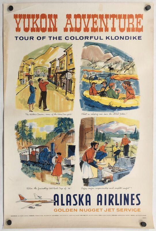 Original Vintage Poster ALASKA AIRLINES - YUKON ADVENTURE Airline Travel 1960s