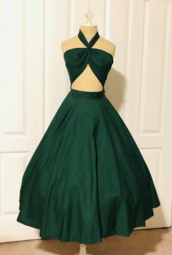 1940s 1950s Toni Owen Cotton Dress Bombshell Vintage 🔥 Full Skirt!