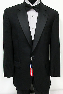 New Black Brooks Brothers One Button Satin Lapel Tuxedo Jacket Wedding Prom 38R