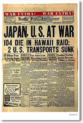 Japan U.S at War Headline Pearl Harbor - NEW Vintage Historic Newspaper -