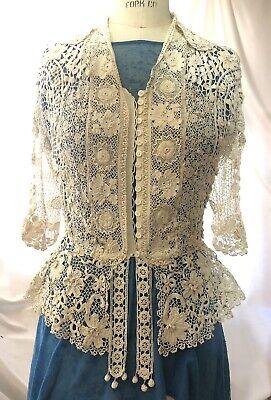 Antique Victorian  Edwardian Irish crochet lace dress jacket S-M