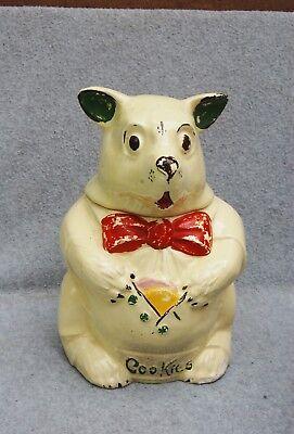 """McCoy Bear Cookie Jar """"Cookies"""" Mark Vest Pocket 11"""" Vintage Cream Hand Painted"""