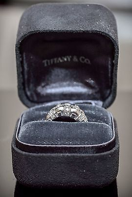 Tiffany & Co 18K White Gold Basket Weave 0.50ct Diamond Cocktail Ring Band Sz4.5