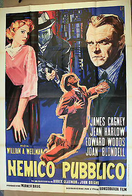 PUBLIC ENEMY * Original 1963 Italian Poster * Gangster JAMES CAGNEY * MAE CLARKE