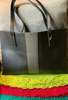 Vince Camuto Black & Gray Stripe  Pebble Grain Leather Open Top Tote/Hobo Open Top Striped Tote
