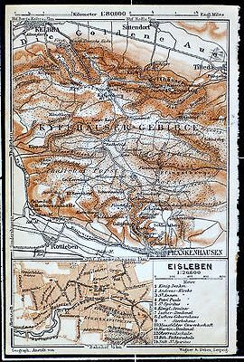 EISLEBEN + KYFFHJÄUSER, alter farbiger Stadtplan/Landkarte, datiert 1911