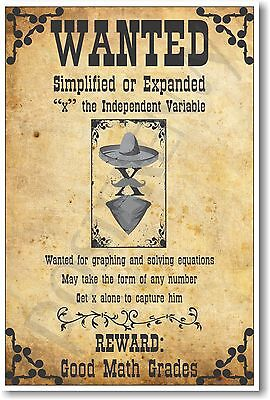 - Wanted: X, The Independent Variable - NEW Humorous Algebra Mathematics POSTER