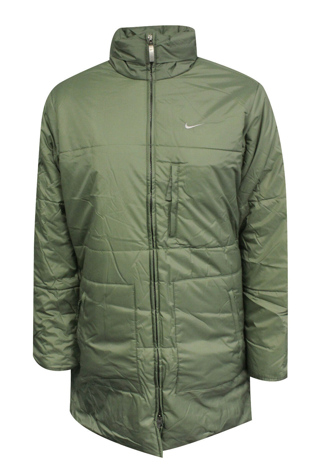 587e65a8f9f0 Details about Nike Womens Mid Length Zip Up Coat Funnel Neck Khaki Jacket  261421 302 OPPM1