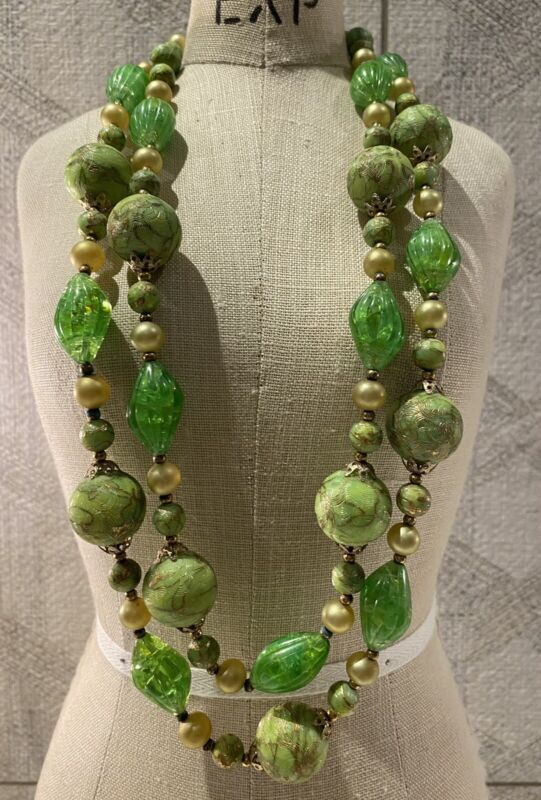 Vintage Signed Crown Trifari Textured Green & Gold Tone Beads Filigree Necklace
