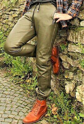 Jogginghose als olive Lederhose super soft ECHT-Leder mit Seitenstreifen Männer