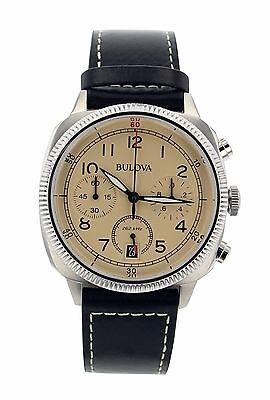 Bulova Men's 96B231 Chronograph Black Genuine Leather Beige Dial Watch