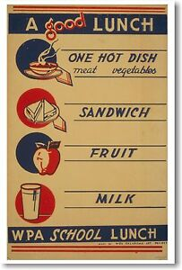A-Good-Lunch-Vintage-School-Healthly-Eating-Food-NEW-WPA-Reproduction-POSTER