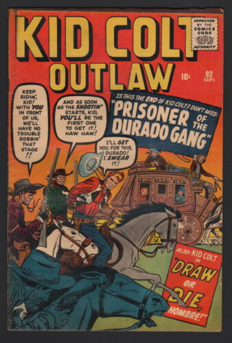KID COLT OUTLAW #92, 1960, KIRBY COVER