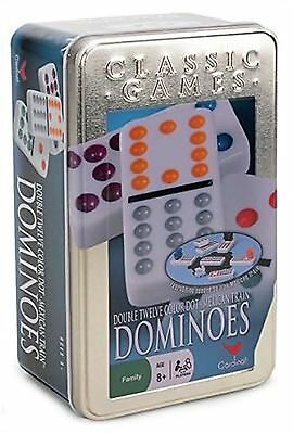 Color Dot Dominoes - Cardinal Double 12 Color Dot Mexican Train Dominoes in Tin, New