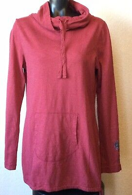 Prana Organic Cotton Tunic Top Cranberry Long Sleeves Size L Tunnel Neck Casual