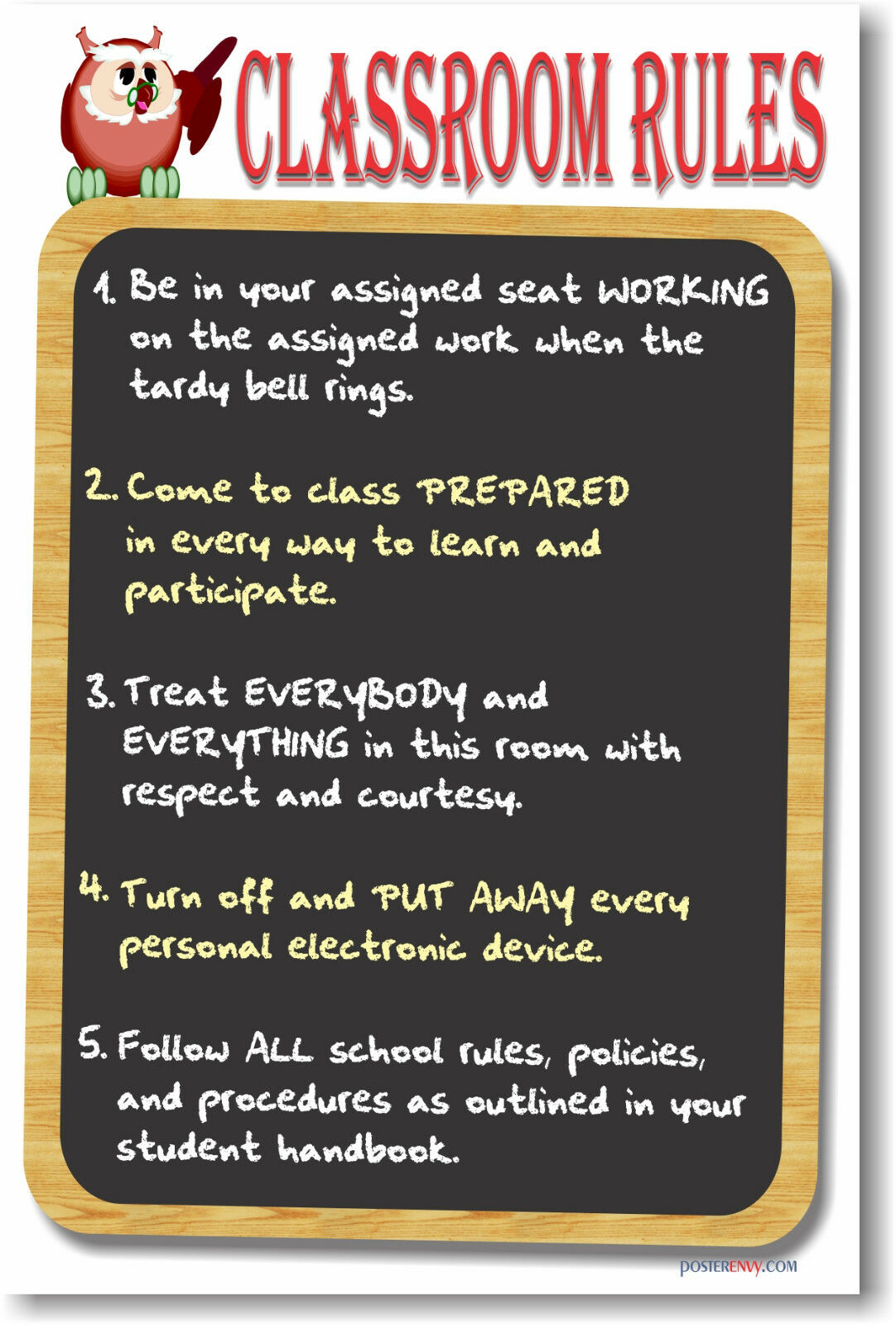 Modern Classroom Rules ~ New poster classroom motivational rules ebay