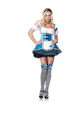 Sexy Halloween Adult Mushroom Alice in Wonderland Costume w Stockings - Alice In Wonderland Mushroom Costume