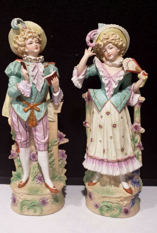 """PAIR 18"""" Antique COLBERT Bisque Porcelain Painted Figurines Man + Lady with Fan"""