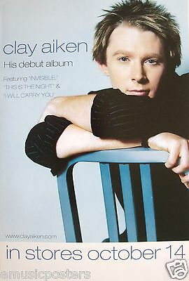"CLAY AIKEN ""HIS DEBUT ALBUM"" U.S. PROMO POSTER - AMERICAN IDOL POP SINGER"