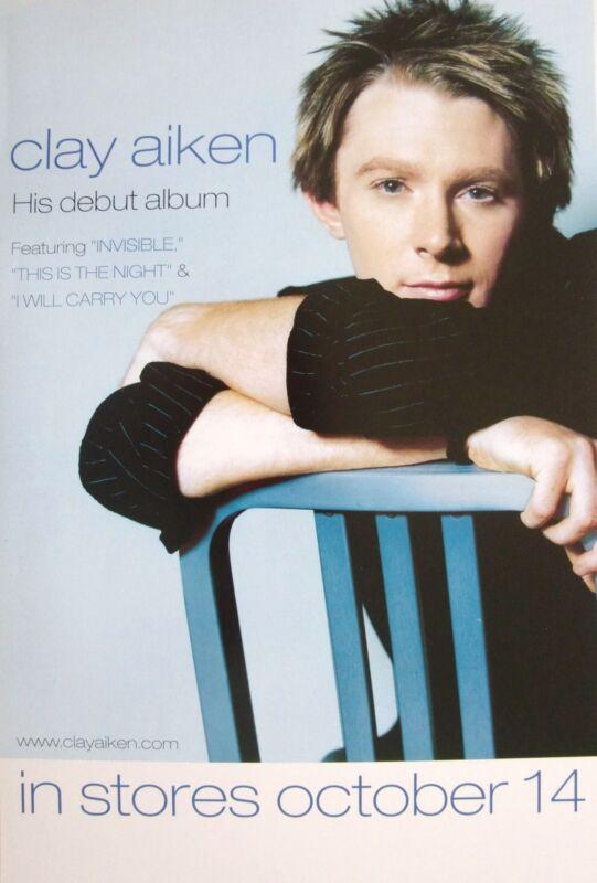 "CLAY AIKEN ""HIS DEBUT ALBUM"" U.S. PROMO POSTER - AMERICAN IDOL POP SINGER"