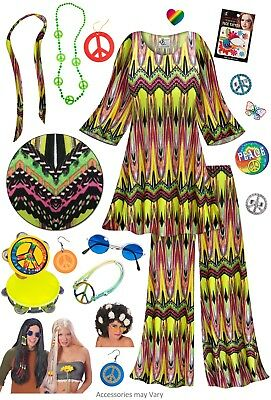 60's Kleider Kostüme (Sublime Print 60's Retro PLUS SIZE Hippie 2pc set + Halloween Costume Lg to 9x)