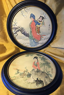 "Vtg 11"" Pair Chinese Paintings on Silk Maiden / Empress - Round Frames - Signed"