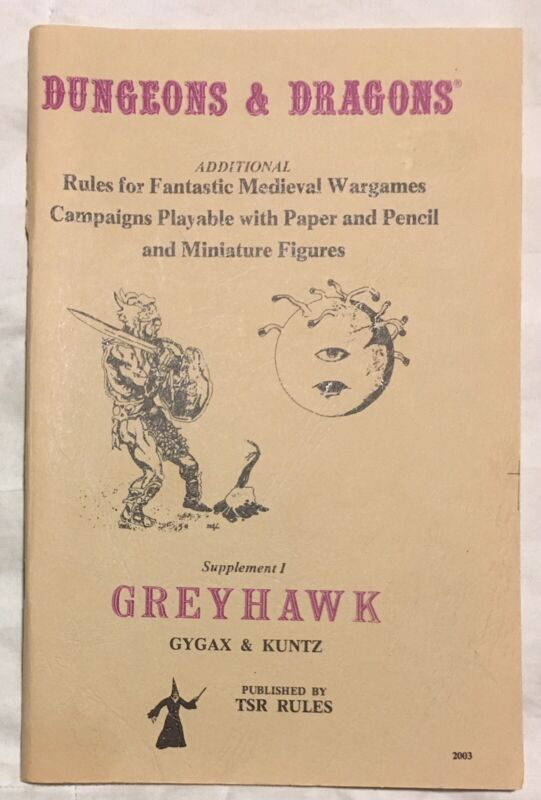 GREYHAWK SUPPLEMENT I  12TH PRINT DUNGEONS & DRAGONS D&D TSR 2003 Gygax